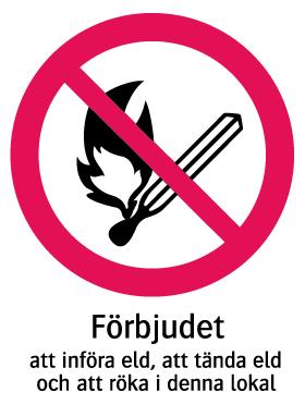 1103 Förbjudet att införa eld, att tända eld och att röka i denna lokal